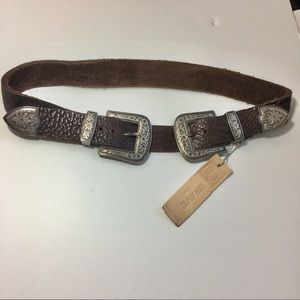 BRAVE Double Buckle BROWN Leather Belt Engraved